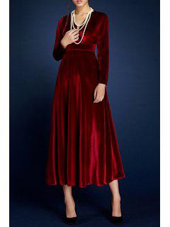 V Neck Velour Pleated Surplice Dress - Wine Red S