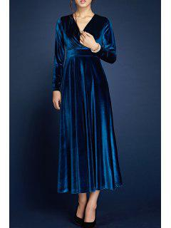 V Neck Velour Pleated Surplice Dress - Deep Blue S