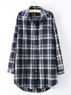 Long Sleeve Checked Long Shirt - Blue 3xl