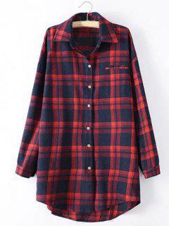 Chemise Longue à Carreaux Et Manches Longues - Rouge Xl