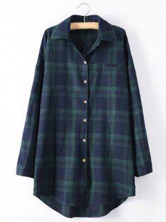 Long Sleeve Checked Long Shirt - Green 2xl