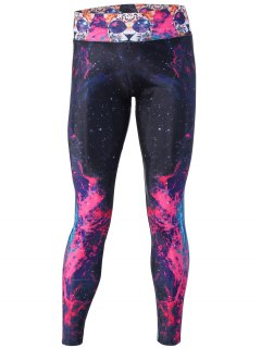 Flame Galaxy And Cat Printed Yoga Pants - Rose Red M