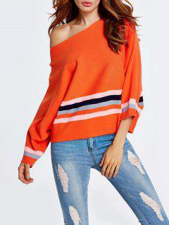 Color Block One Shoulder Knitwear - Orangepink