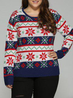 Christmas Jacquard Plus Size Sweater - White 2xl
