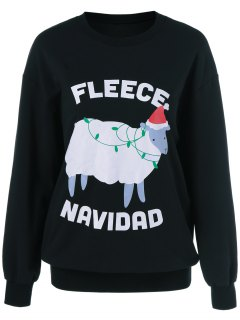 Navidad Pattern Fleece Sweatshirt - Black Xl