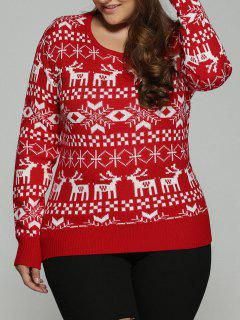 Christmas Jacquard Pullover Plus Size Sweater - Red 2xl