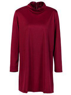 Col Haut à Manches Longues Robe Droite - Rouge S