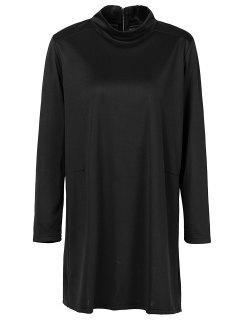 Col Haut à Manches Longues Robe Droite - Noir S