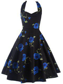 Halter Floral A Line Cocktail Skater Dress - Blue S