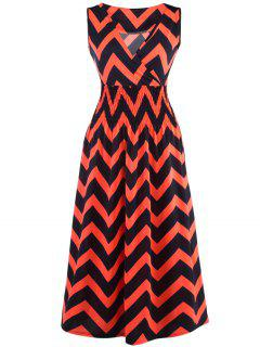 Bohemian Plunge Neck Sleeveless Zig Zag Dress - Jacinth S