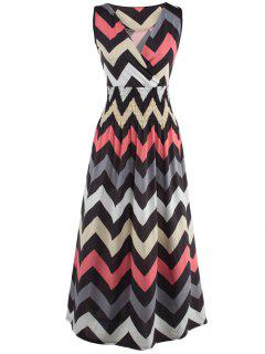 Bohemian Plunge Neck Sleeveless Zig Zag Dress - Gray S
