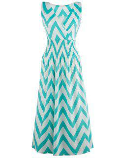 Bohemian Plunge Neck Sleeveless Zig Zag Dress - Green S