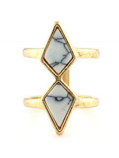 Rhombus Cage Ring - White