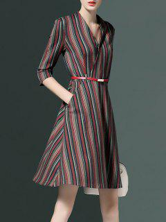 V Neck Striped Pockets A Line Dress - Stripe S