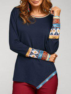 Asymmetric Tribal Print Tee - Cadetblue L
