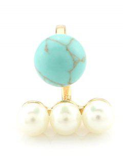 Faux Pearl Ball Ring - Turquoise