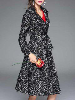 Vintage Lapel Collar Long Belted Lace Skater Coat - Black M