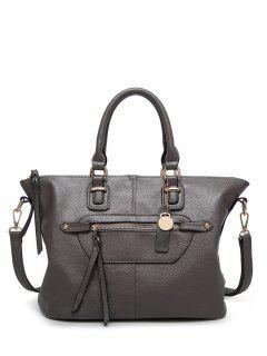 Zip Textured PU Leather Handbag - Gray
