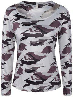 Cut Out Camouflage T-Shirt - White M