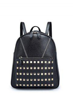 PU Leather Stitching Rivet Backpack - Black