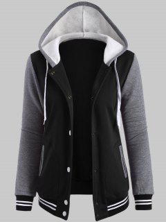 Plus Size Hooded Varsity Baseball Fleece Sweatshirt Jacket - Black Xl