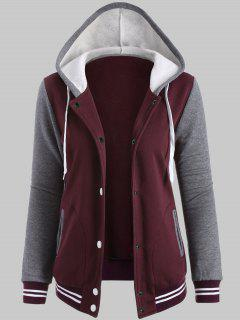 Plus Size Hooded Varsity Baseball Fleece Sweatshirt Jacket - Wine Red Xl