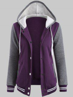 Plus Size Hooded Varsity Baseball Fleece Sweatshirt Jacket - Purple Xl