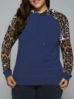Plus Size Leopard Trim Raglan Sleeves Hoodie - Navy Blue 3xl
