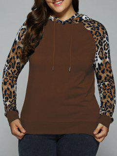 Plus Size Leopard Trim Raglan Sleeves Hoodie - Coper Brown 5xl