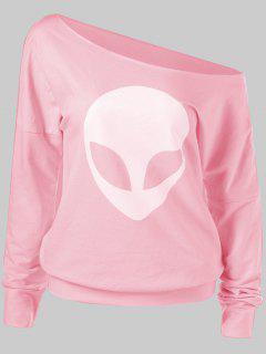 T-shirt à épaule Asymétrique Et Motif Alien  - Rose PÂle M