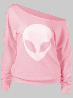 Alien Print Skew Neck T-Shirt - Pink M