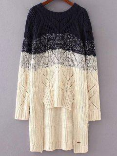 Ombre Loose High-Low Sweater - Apricot