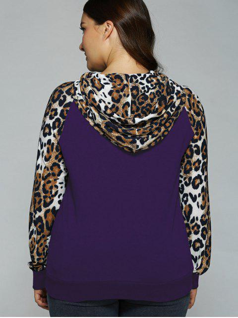 sweet à capuche grande taille avec bordures manches raglan - Violet Foncé XL Mobile