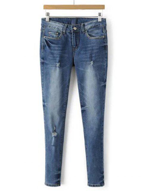 Pantalon crayon en denim blanchi effiloché - Bleu clair XL Mobile