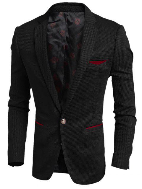 Kontrast Trim Tasche Kerbe Revers Textur One-Button Blazer - Schwarz M Mobile