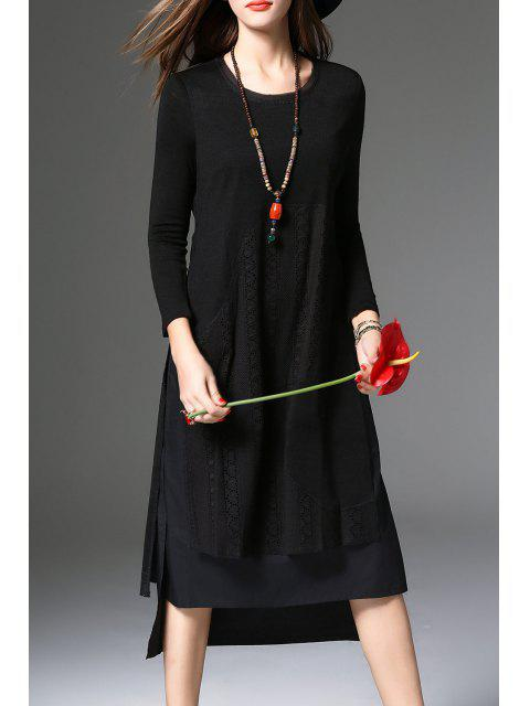 shop High Low Long Sleeve Dress - BLACK L Mobile