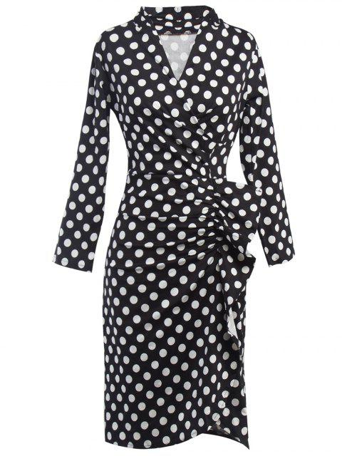Polka Dot Ruched Surplice Kleid - Schwarz M Mobile
