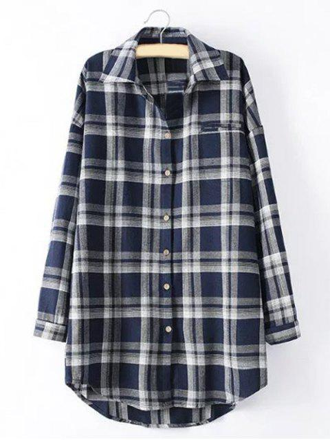 chic Long Sleeve Checked Long Shirt - BLUE 4XL Mobile