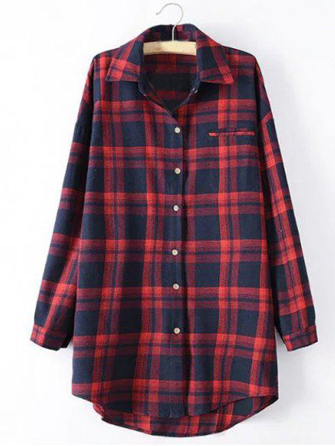 affordable Long Sleeve Checked Long Shirt - RED 4XL Mobile