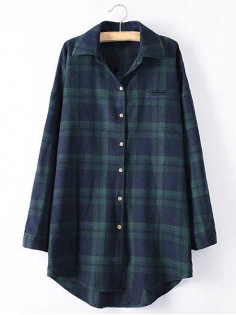 women's Long Sleeve Checked Long Shirt - GREEN 4XL Mobile