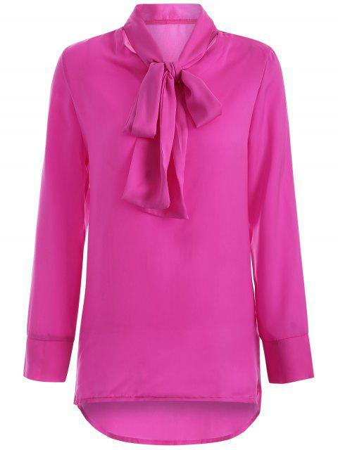 womens Long Sleeve Pussy Bow Blouse - ROSE RED L Mobile