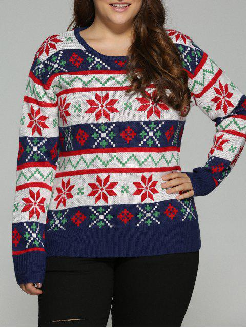 chic Christmas Jacquard Plus Size Sweater - WHITE 3XL Mobile
