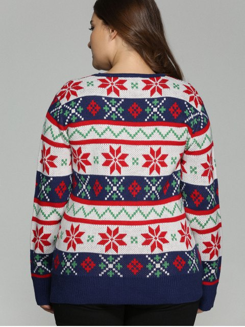 fashion Christmas Jacquard Plus Size Sweater - WHITE 4XL Mobile
