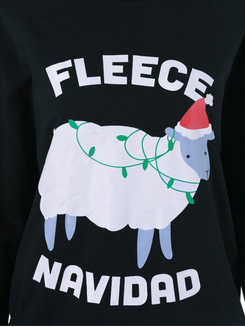 fashion Navidad Pattern Fleece Sweatshirt - BLACK XL Mobile