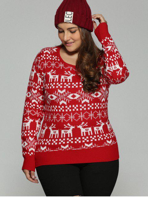 affordable Christmas Jacquard Pullover Plus Size Sweater - RED 4XL Mobile