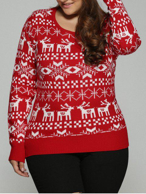 buy Christmas Jacquard Pullover Plus Size Sweater - RED 3XL Mobile