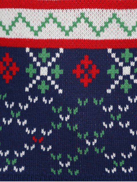 ladies Christmas Snowflake Jacquard Plus Size Pullover Sweater - DEEP BLUE 4XL Mobile