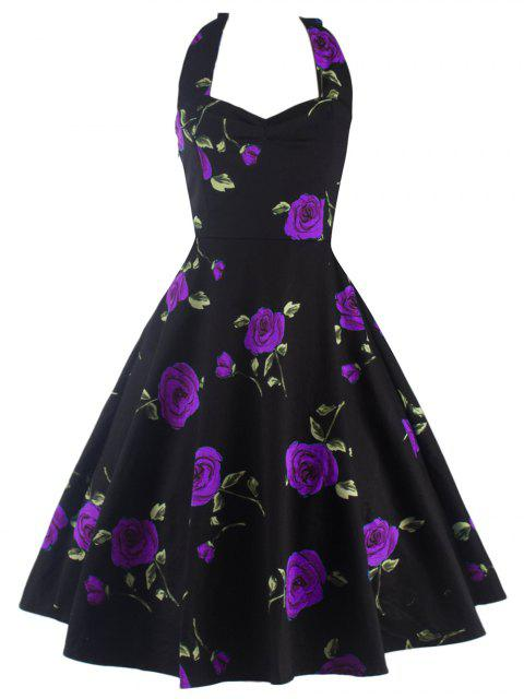 buy Halter Floral A Line Cocktail Skater Dress - PURPLE M Mobile