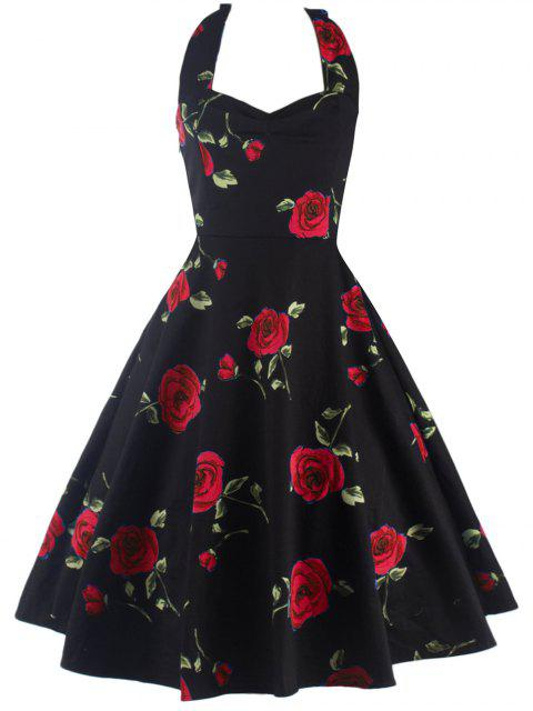 women's Halter Floral A Line Cocktail Skater Dress -   Mobile