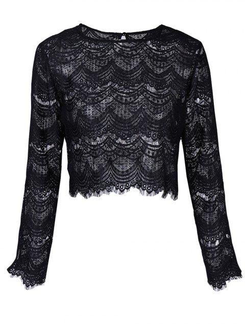 fashion Round Neck Long Sleeve Lace Top - BLACK XL Mobile